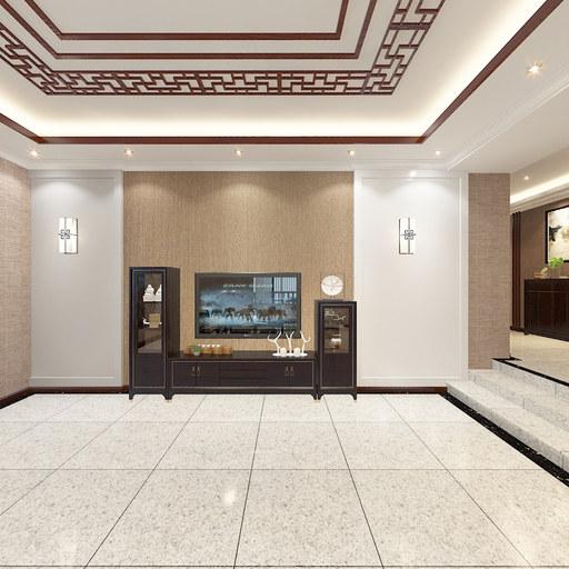新中式客厅全景效果图