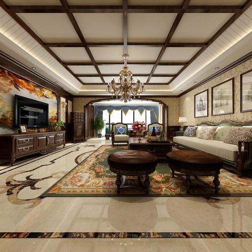 2套豪华美式客厅餐厅720全景装修效果图