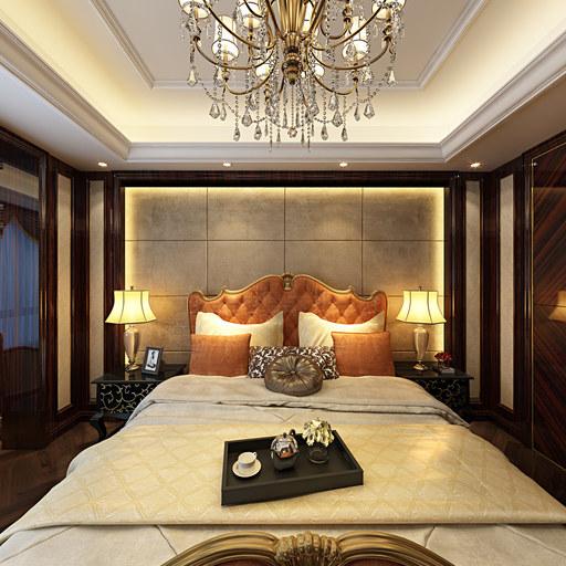新中式装修卧室设计720全景效果图