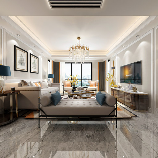简欧风格装修设计客厅餐厅VR全景效果图设计
