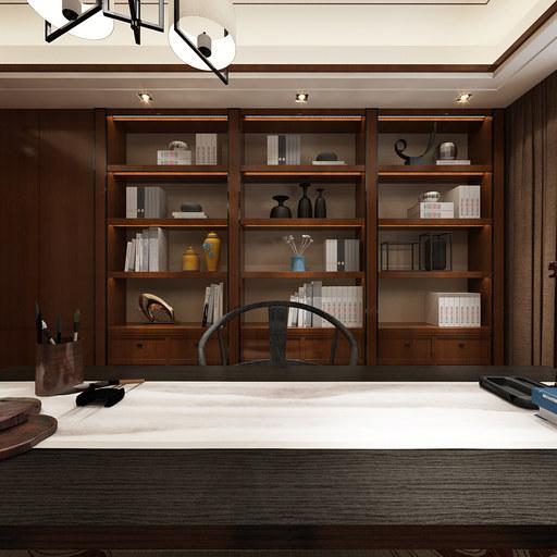 2套新中式书房装修设计VR看房全景图