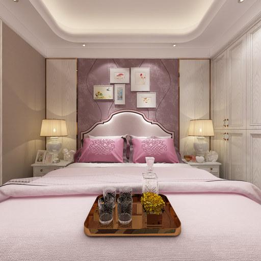 现代装修卧室带阳台720全景效果图设计